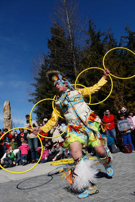 Traditional hoop dance at Lil'Wat's Flame Creation in Whistler, BC