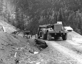 "[""Caterpillar"" equipment being used during the Hope-Princeton (Princeton-Hesley) Road c..."