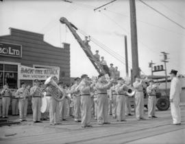 Shipyard worker's band at Granville Island [ for Victory Loan Campaign]