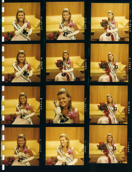 Miss P.N.E. 1970, Heather Kettleson, with flowers and trophy