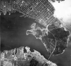 [Aerial view of North Vancouver, First Narrows, Stanley Park, West End, Coal Harbour, Burrard Inl...