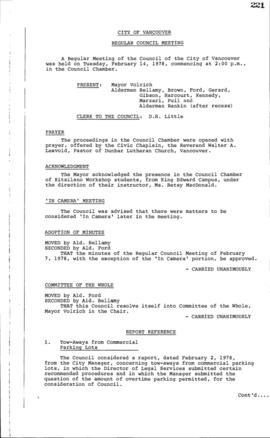 Council Meeting Minutes : Feb. 14, 1978