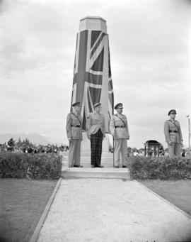 [Lord Alexander and other men standing at a war memorial dedicated to the Royal Canadian Engineer...