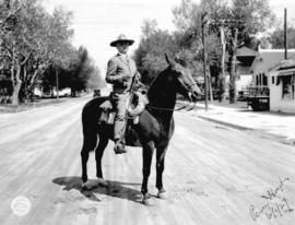 [Percy Hoyt sitting on a horse in Cheyenne, Wyoming]