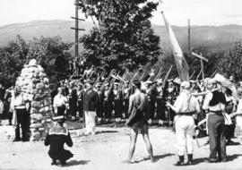[Reeve J. Edward Sears speaking after unveiling a cairn during the Narvaez Pageant at Ambleside P...