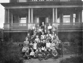 [Students and teachers in front of the School for the Deaf in the 1300 Block West Broadway]