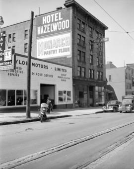 [View of Taylor Motors and the Hotel Hazelwood]