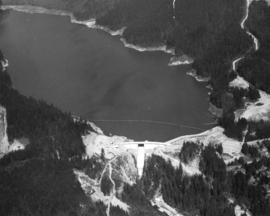 [Aerial view of the Cleveland Dam and Capilano Lake]