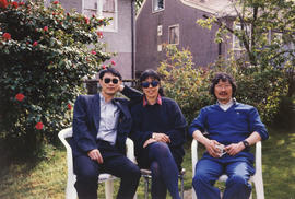 Paul Yee, SKY Lee and Jim Wong-Chu at Lee's home in East Vancouver