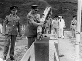 Sai Wan Bay War Cemetery, General Crerar placing a wreath