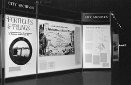 Three display panels for City of Vancouver Archives' Portholes and Pilings exhibition