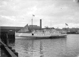 "[Sidewheeler ship ""North Pacific"" at Evans, Coleman and Evans dock]"