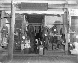 [Storefront of Robert Clark Gents Clothing and Furnishings on Cordova Street]