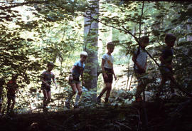 Boys hiking on trail at Camp Capilano