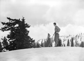 Skier on top of Mt. Seymour