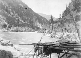 Indian salmon catch, Fraser River near North Bend, B.C.