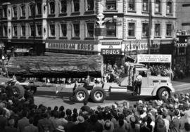 Hayes Lawrence Co. logging truck in 1947 P.N.E. Opening Day Parade