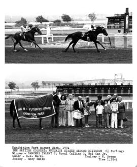 The British Columbia Futurity Stakes Second Division : [2 photographs of horse race and winner&#0...