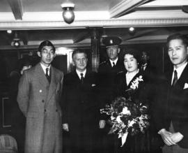 [Prince and Princess Chichibu of Japan on board ship prior to departure]