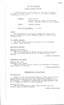 Council Meeting Minutes : Aug. 29, 1978