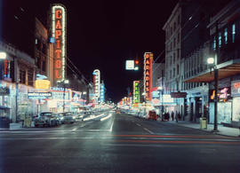 View of the 800 and 900 blocks of Granville Street (Theatre Row) at night