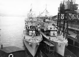 [Escort ships at C.P.R. Pier B-C during visit of King George VI and Queen Elizabeth]