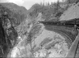 Pacific Great Eastern Railway - first trip to Alta Lake [train on trestle in canyon]