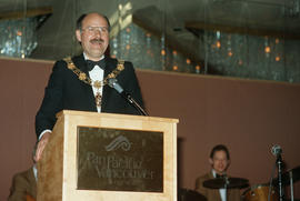 Mayor Harcourt speaks during Centennial Ball at the Pan Pacific Hotel