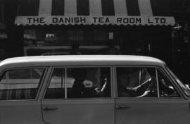 The Danish Tea Room and traffic across Robson Street