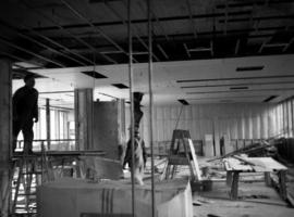 Construction of new office building: celiling installation