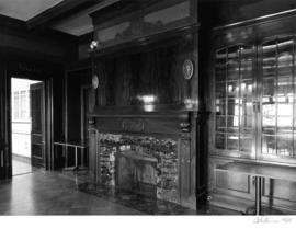 Cecil Green Park house, dining room fireplace