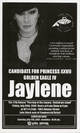 Greater Vancouver Native Cultural Society : candidate for Princess XXVII, Golden Eagle IV Jaylene...