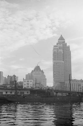 [The foot of Burrard Street from the water showing The Marine Building and the Hotel Vancouver]