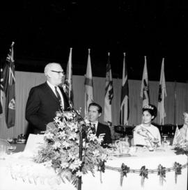H.J.C. Terry, Miss P.N.E., and Vancouver Mayor T. Campbell at Pacific Coliseum opening event