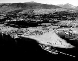 [Aerial view of the waterfront east of the Lions Gate Bridge]