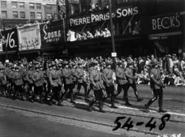 R.C.M.P. marching in 1954 P.N.E. Opening Day Parade