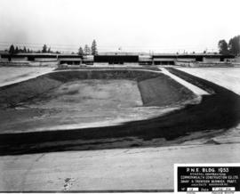 Completed livestock bowl and P.N.E. B.C. building, facing south