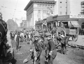 [Road construction at Granville Street and Pender Street]