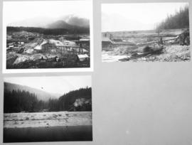 [Three views of Coquitlam Dam construction]