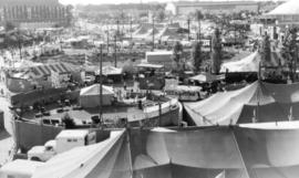 [Ground-level view of the Pacific National Exhibition grounds]