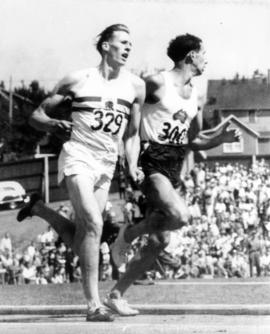 Roger Bannister and John Landy in the Miracle Mile race in Empire Stadium during the 1954 British...
