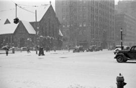 [The corner of Georgia Street and Burrard Street in a snow storm]