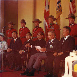 P.N.E. President H. Fairbank and Yokohama Mayor I. Asukata at 1969 P.N.E. Opening Ceremonies on O...