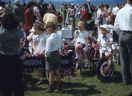 Parade, Haddon Play Group children on tricycles and spectators