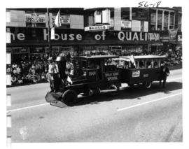 Car decorated as locomotive in 1956 P.N.E. Opening Day Parade