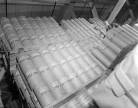 [Stacks of paper] rolls [at] Pacific Mills
