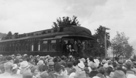 Replica of first C.P.R train to Port Moody, July 3, 1886 : At Port Moody [showing] McGeer, Bennet...