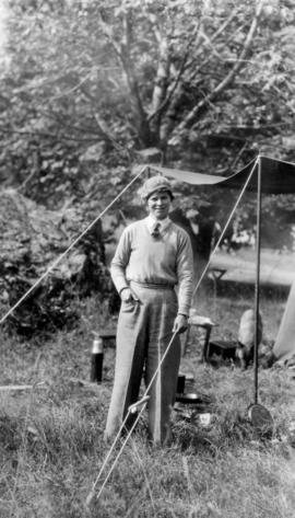 Bea[trice Timmins] at our camp, Yale