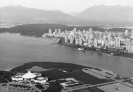 Aerial view of Stanley Park, West End, Planetarium and City Archives