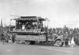 "[Parade vehicle ""Vancouver's First Street Car A.D. 1890"" displayed on truck]"